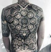 40 geometrische zurück Tattoos für Männer – Dimensional Ink Ideen – Männer Stil und Mode
