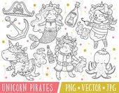 Pirate Unicorn Clipart Digital Stamps, Kawaii Unicorn Pirates, Valentine Unicorn Pirate Clipart, Cute Pirate Clip Art, Cute Unicorn Clipart