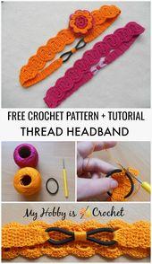Thread Headband – Kostenlose Häkelanleitung mit Tutorial, #crochetheadband #hakelanleitung #h… – Handarbeit
