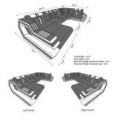 Design Sectional Sofa Hollywood U Shape with LED and USB