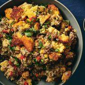 Maisbrotfüllung nach südländischer Art mit italienischer Wurst und Paprika   – Food – Chicken/Turkey