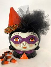 Johanna Parker Filled Halloween Witch Snack Dish, Witch and Black Cat Halloween Decor, Vintage Style