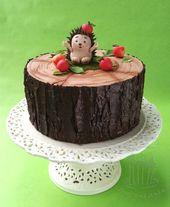 Motiv Torte Torte: Igel mit Äpfeln auf einem Baumstamm – # Äpfel #Auce … – Torten