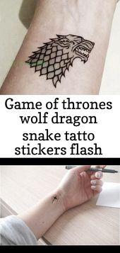 Game of Thrones Wolf Drachen Schlange Tatto Aufkleber Flash Tattoo Fake Tattoos für Männer Frauen