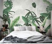 Südostasiatischen Regenwald Pflanze-Wand-Wandbilder Wand Dekor, grünen Blättern Strauch Tapete Wandbild, tropische Landschaft Tapete