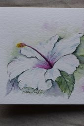 White Hibiscus watercolor painted card-print