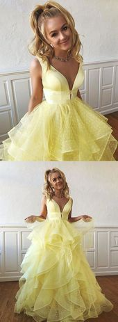 Yellow v neck tulle long prom dress, formal dress ,C0660