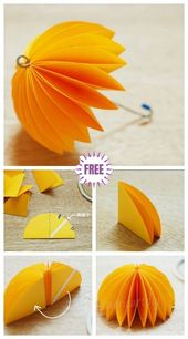Kinder Craft Easy Origami Paper Umbrella DIY Tutorial
