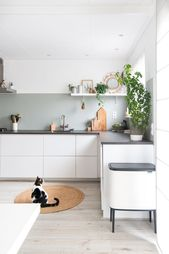Green and White Ikea Kitchen with concrete top by …