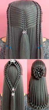 37 Geflochtene Frisurenpersönlichkeiten für Schulmädchen   Transformation Frisur Tutorial Party Frisuren, einfache Frisuren, Frisuren für Mädchen, Haare ...