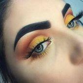 gelb und orange Augen Make-up Glitzerpinsel #augen #gelbe #glit #au …   – Augen make up