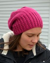 Caroline: FUCHSIA Knit Slouch Beanie Mock Cable Brim Hat, Hand Knit Pink free shipping (3128) – Products