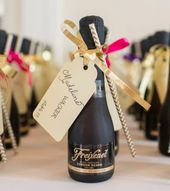 Mini Black and Gold Champagne Wedding Favors
