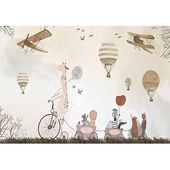 Isabelle & Max Ola Vintage Hot Air Balloons and Animals Textile Texture Wall Mural