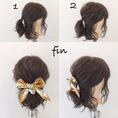 Bob's Easy Scarf Arrangement (^^) 1, Ponio in line at the ear … – Hairstyles women