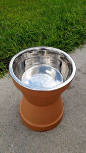 DIY Dog Water bowl stand made out of terra cotta pots
