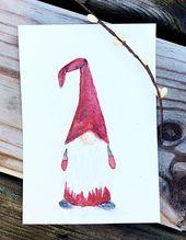 Skandinavische Gnome, Set von drei – schwedische Tomte, norwegische Nisse, skandinavischen Gnome Aquarell Druck, Wandkunst