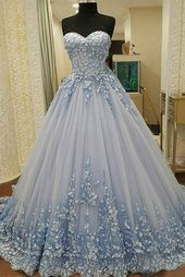 2019 Prom dresses Sweetheart A Line tulle with handcrafted flowers lace up € 307.68 SAP15Y92HF – ChicEveningDresses.com