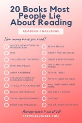 20 Books Most People Lie About Reading – How many have you actually read? – The Uncorked Librarian