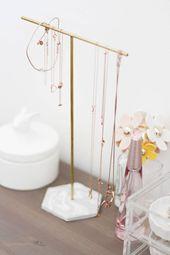 DIY: Gold und Marmor Schmuckständer selber machen, #DIY #Gold #machen #Marmor #Schmuckstände…