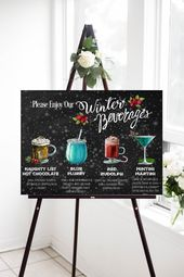 Holiday Signature Drinks Sign Printable, Christmas Cocktail Menu, Wedding Signature Drink Sign, Signature Cocktail Sign, Custom Drinks