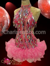 CHARISMATICO Red Sequin Under-bust Corset and Rainbow Ruffled Gay Pride Skirt