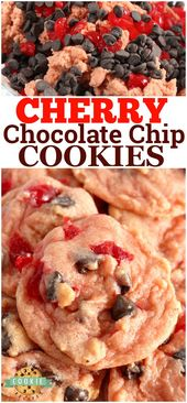 Cherry Chocolate Chip Cookies are soft, chewy and packed with cherry flavor, bit…