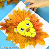 Lion Leaf Craft with Printable Template