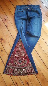 Fusées ou jupe en jean pour Hippie Vêtements Music Festival Jeans Gypsy   – upcycling kleidung