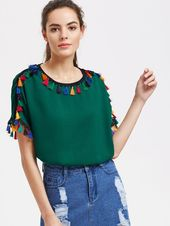Shein Buttoned Keyhole Back Tassel Detail Top