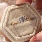 Custom Design Leaf Design Engagement Ring – Romantic, Delicate Custom Design Leaf D …