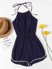 Shop Halter Neck Lace Trim Romper online. SheIn offers Halter Neck Lace Trim Rom… – Sommer outfits