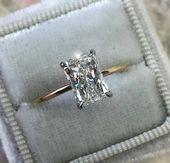 1 Karat Diamant-Verlobungsring, Solitaire Radiant Diamond Ring, 14 Karat Weiß- / Gel …