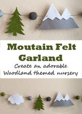 Mountain Woodland Felt Garland – Wall Decor – Woodland Mountain Nursery – Woodla…