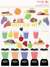 Fruit smoothie clip art set, healthy breakfast drink, fruit salad clipart (LC07)   – My Work | Lovelytocu