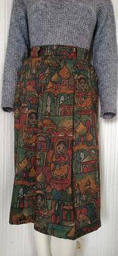 Jupe plissée vintage, poupées russes imprimées, 44   – моя одежда