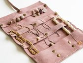 Jewelry Organizer, Personalized Jewelry, Jewellery leather roll, Bridesmaid Gifts, necklace case, Travel jewelry roll, Travel Jewelry case