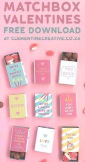 Laden Sie diese kostenlosen druckbaren Streichholzschachtelhüllen herunter und verschenken Sie sie zum Valentinstag …   – diy valentines