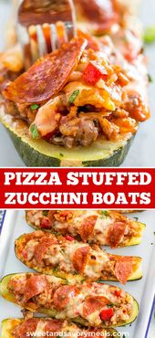 Pizza Gefüllte Zucchini Boote   – Sweet and Savory Meals