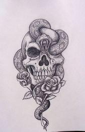 Snake skull drawing. Cool tattoo idea