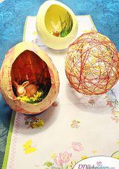 DIY Dekoidee – Ostereier basteln aus Knitterpapier und Naturschnur