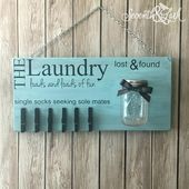 Laundry Room Decor – Laundry Sign – Lost Socks – Lost and Found – Home Decor – Laundry Room Sign – Mason Jar – Wooden Sign – Loads of Fun
