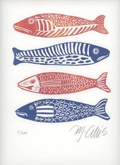 linocut print, Four Fish, fish, blue and white, red, gift for him, fishing, beach house, stripes, printmaking, home interior, blue, white   – Drucktechniken: Holz, Linol, Sieb & co