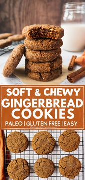 Soft Chewy Gingerbread Cookies (Paleo, Low Carb)