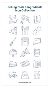 Illustrator Herramientas Baking Tools & Ingredients Icon Set
