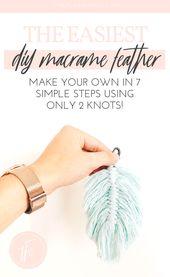 Macrame Feather DIY Tutorial #tutorial Macrame Fea…