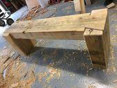 Tough sawn timber bench #penandpeg – #financial institution #Bench … – #financial institution #bench #pena #woodworking