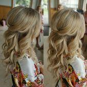 hübsches halbes Haar mit Locken – Brauthaar #bridalhair hübsches halbes Haar m…