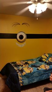 Great Kids Room With Minions Wall Design Also Minions Wall Decals