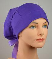 Scrub Hats // Scrub Caps // Scrub Hats for Women // The Hat Cottage // Large // Ribbon Ties // Dark Lavender  – SCRUBS